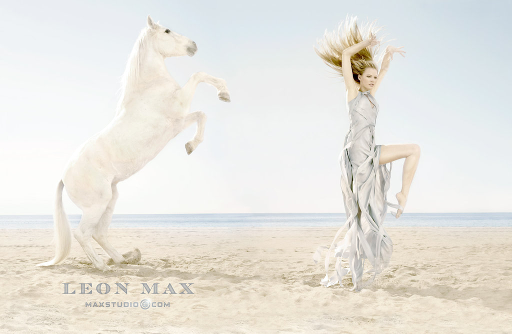 "The horse in the Max Studio Spring '12 ads was the ""lead"" in Water For Elephants. Source: Fashion Gone Rogue"