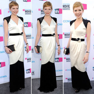 Pictures of Michelle Williams in a Black and White Vintage Chanel Gown at the 2012 Critics' Choice Awards
