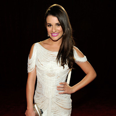 Lea Michele in White Fringe Dress Pictures at 2012 People's Choice Awards