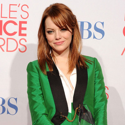 Emma Stone Green Jacket Pictures at 2012 People's Choice Awards