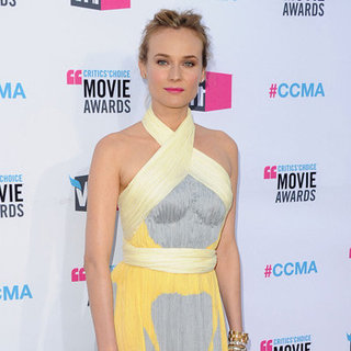 Diane Kruger Grey and Yellow Dress Pictures at 2012 Critics' Choice Awards