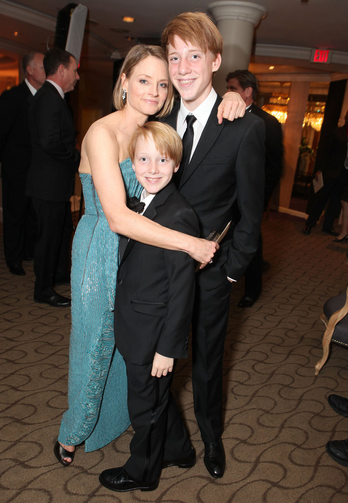 Jodie Foster posed with sons Christopher and Charlie.