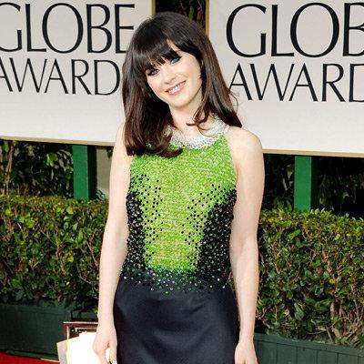 Zooey Deschanel Custom Prada Dress Pictures at 2012 Golden Globes
