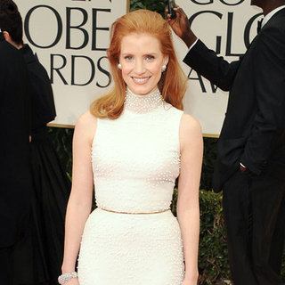 Jessica Chastain Givenchy Dress Pictures at 2012 Golden Globes