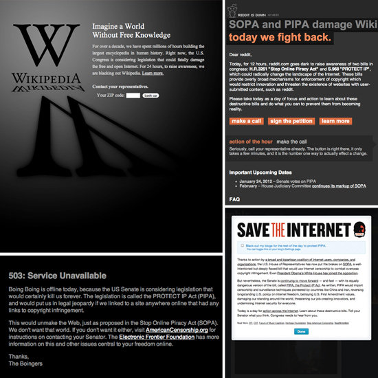 SOPA Protest Websites