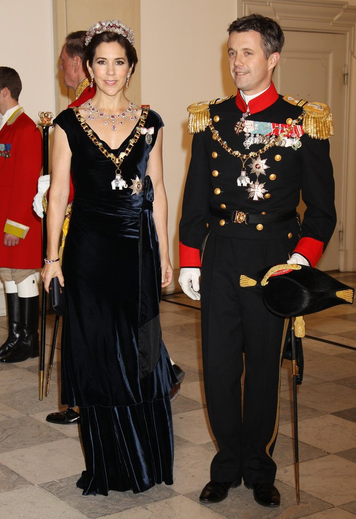 Crown Princess Mary and Crown Prince Frederik got all glammed up for a celebration for Queen Margrethe II at the Christiansborg Palace Chapel on Jan. 15.