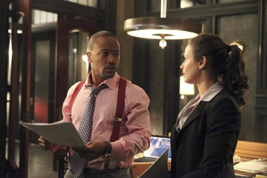 Columbus Short and Katie Lowes in Scandal.</p> <p>Photos copyright 2012 ABC, Inc.