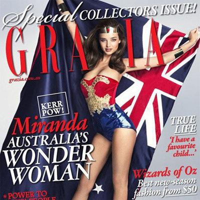Miranda Kerr Sexy Wonder Woman Cover on Grazia Magazine Australia Day Issue