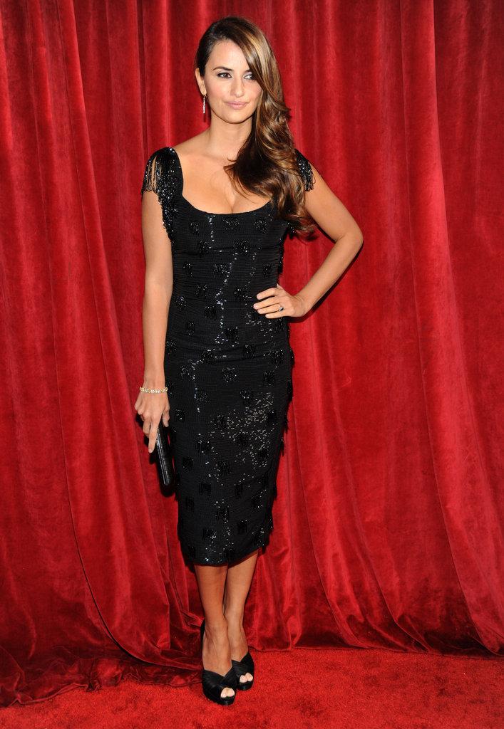Penelope Cruz struck a pose in a sleek black L'Wren Scott design and peep-toe Casadei pumps in 2010.
