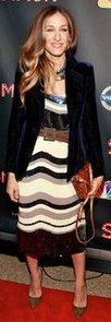 Sarah Jessica Parker in Striped Sequin Dress in NYC