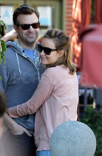 Olivia leaned in for a hug from her man.