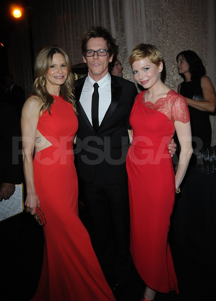 Kyra Sedgwick and Kevin Bacon said hello to Michelle Williams in the SAG Awards green room.