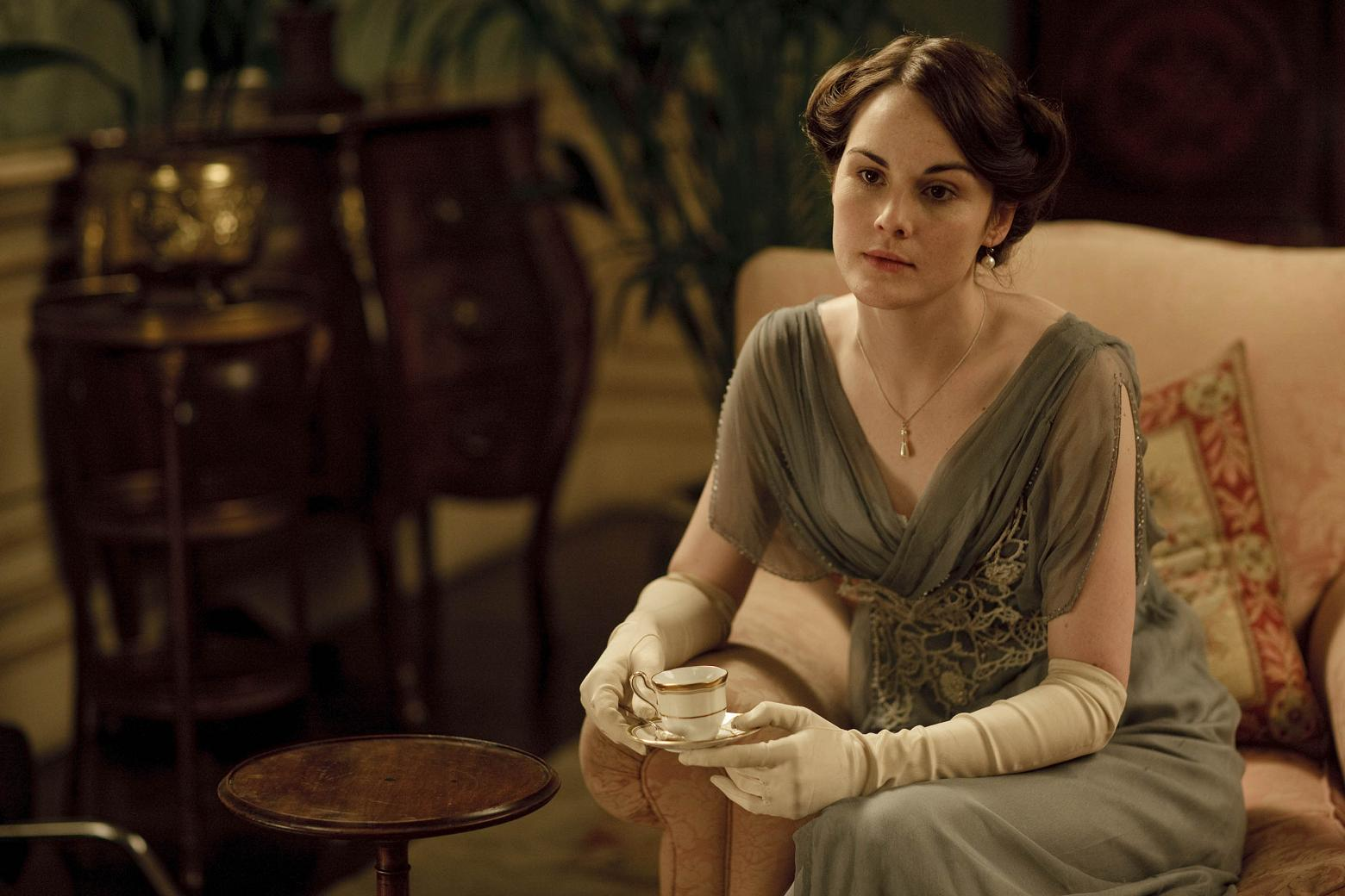 "Ever notice how nobody wears her hair down at Downton Abbey in the earlier seasons? That's not by accident. Only little girls and ""loose"" women wore their hair down in those days. Wearing hair up, however, showed that she was ready to be presented — and therefore, courted — as a grown woman. Source: ITV"