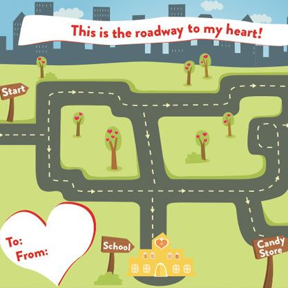Free Printable Cars and Trucks Kids Valentine's Day Card