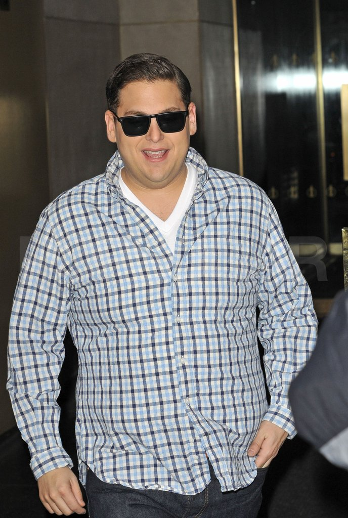 Jonah Hill wore a plaid shirt in NYC.