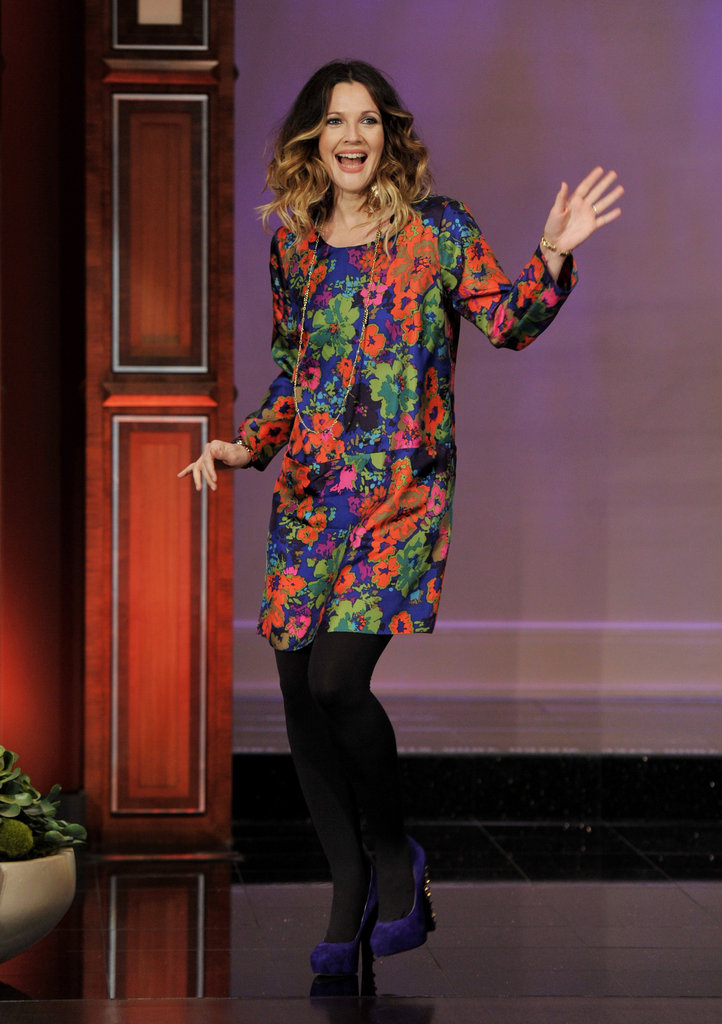 Drew Barrymore arrived on The Tonight Show.