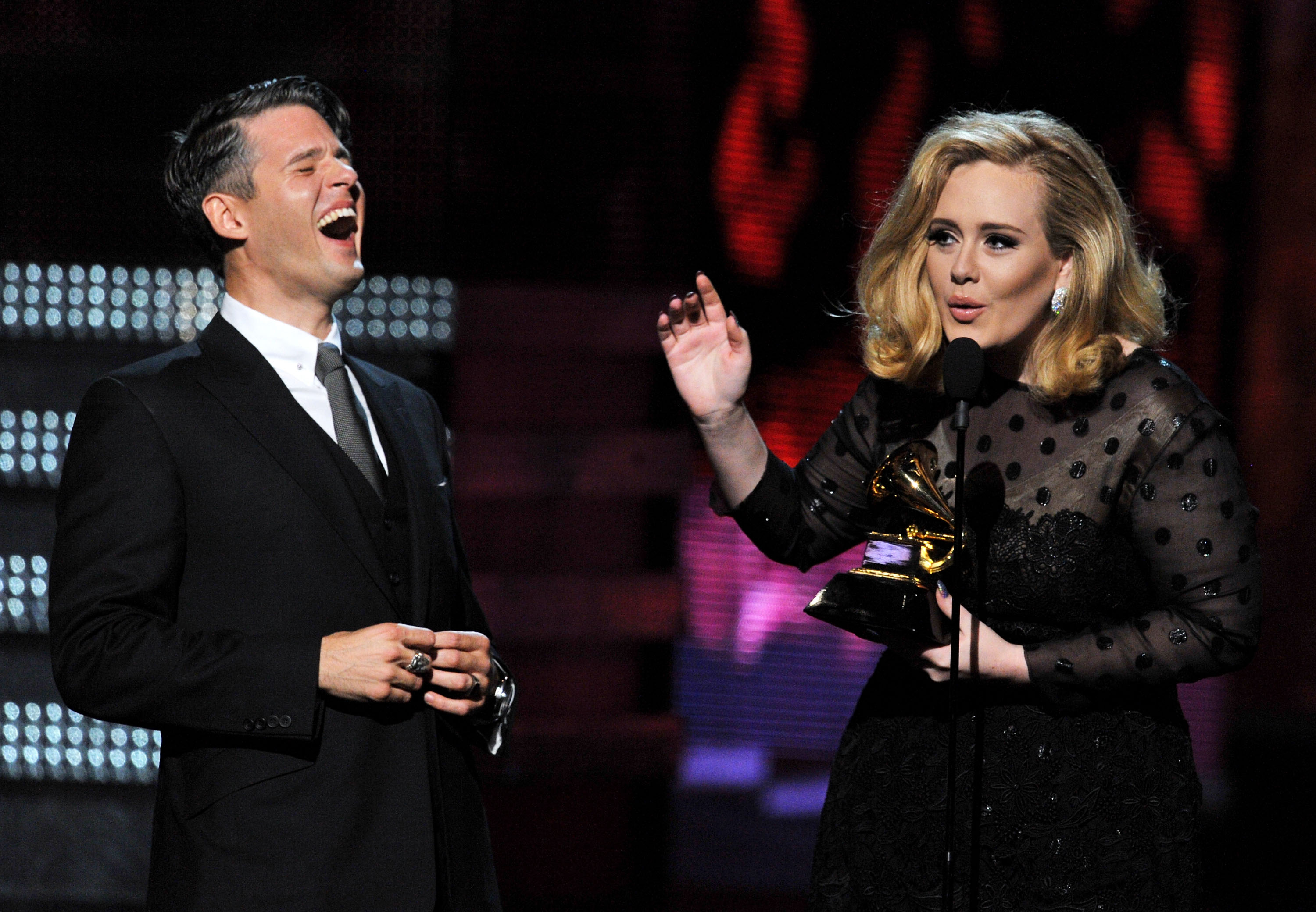 Adele cracked a joke while accepting one of her statues.