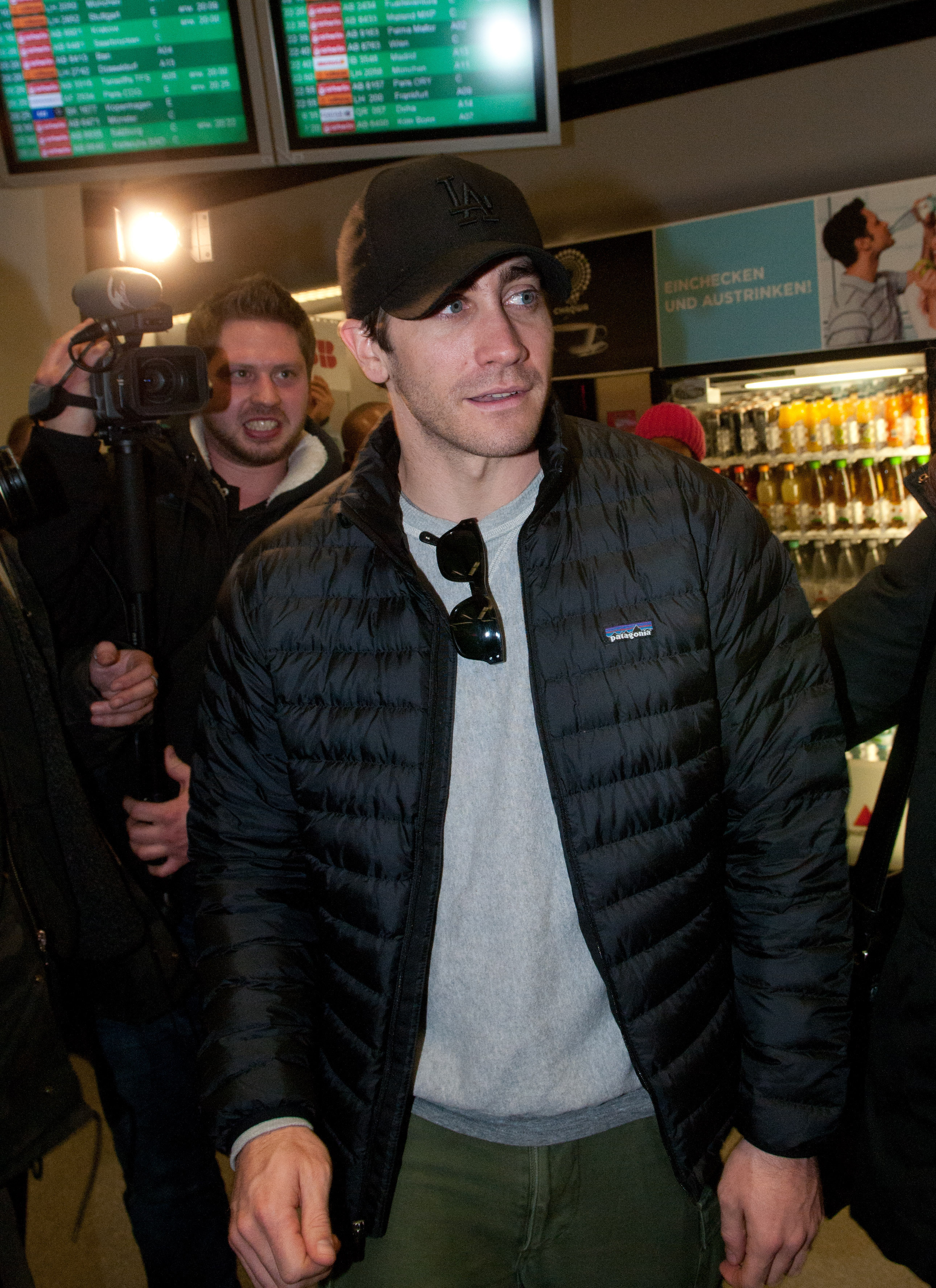 Jake was met with a film crew and photographers eager to capture his arrival into Germany.