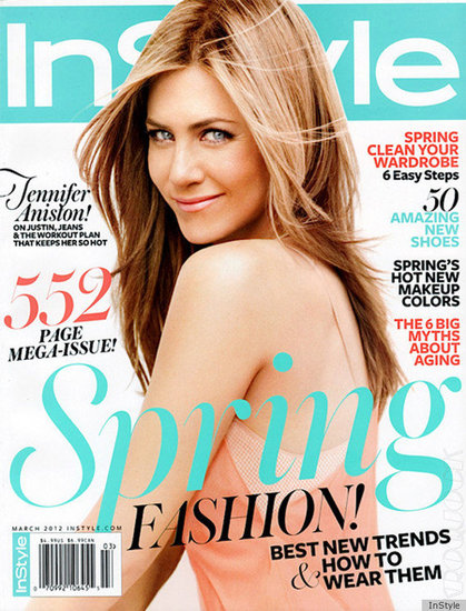 Jennifer Aniston on the cover of InStyle March 2012.