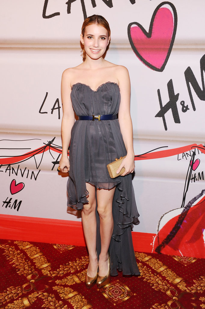 Emma chose a flirty high-low Topshop strapless for Lanvin's H&M runway show in