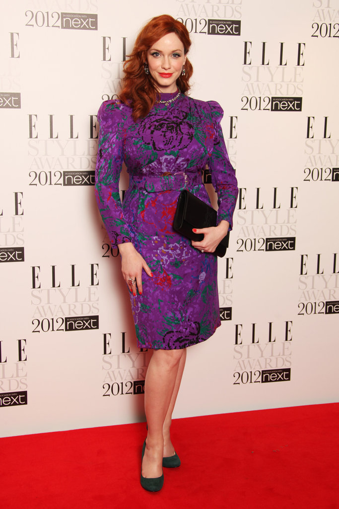 Christina Hendricks complemented her retro-inspired waves with a ladylike sheath with bold hues and an all-over floral print.