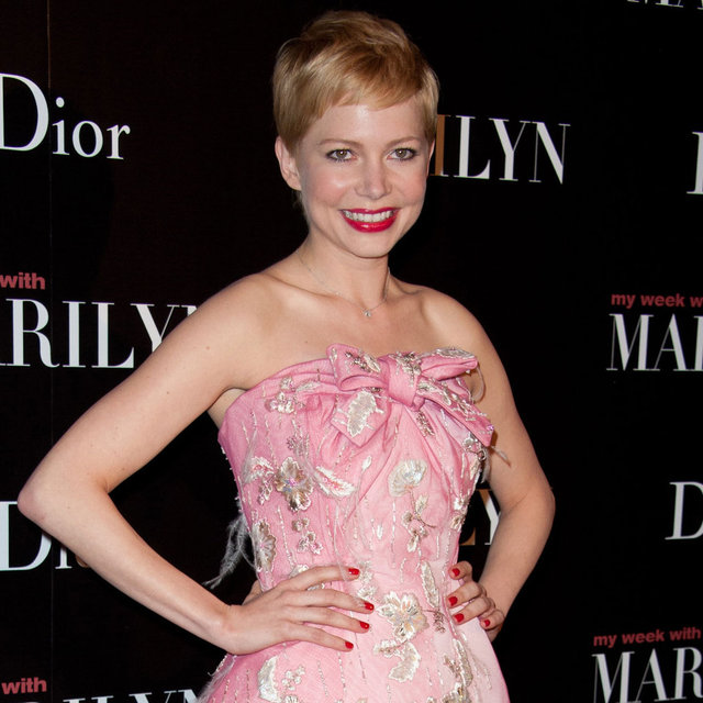 Pictures of Michelle Williams Wearing Pink Christian Dior at the Paris Premiere of My Week With Marilyn