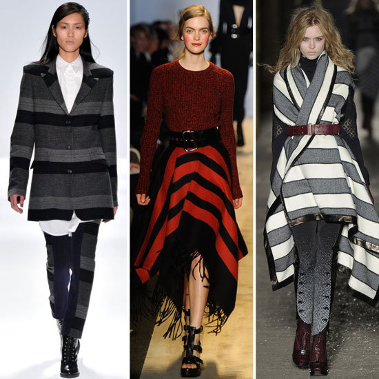 Repérés à la Fashion Week de New York : les vêtements chauds à grosse rayures