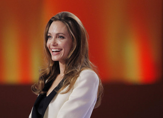Angelina got a kick out of one question from the panel.