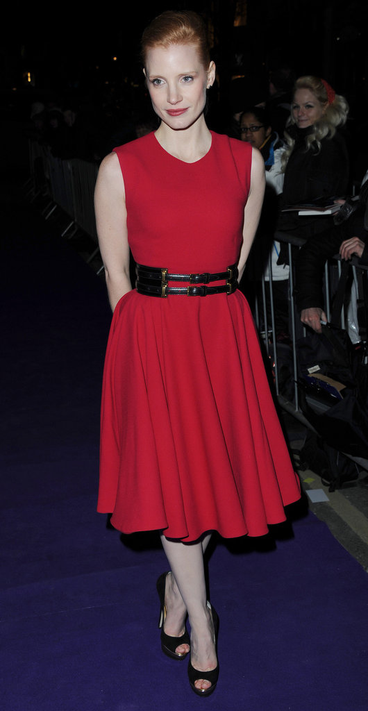 Jessica Chastain shows off the shape in a brilliant McQueen frock.