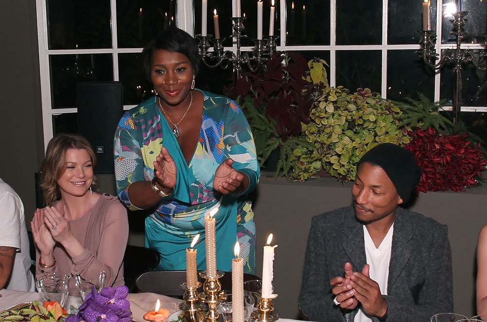 Bevy Smith spoke to Ellen Pompeo and Pharrell Williams at dinner.