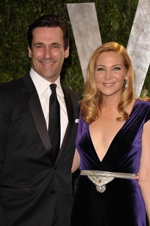 John Hamm and Jennifer Westfeldt at the Vanity Fair party.