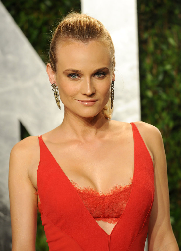 A closer look at Diane Kruger's sexy lace bralette detail.