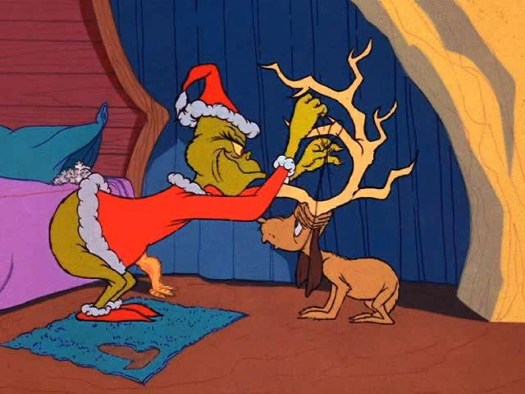 Max the dog reluctantly impersonates Santa's reindeer in the Grinch's dastardly anti-Christmas scheme against Whoville in How the Grinch Stole Christmas!.