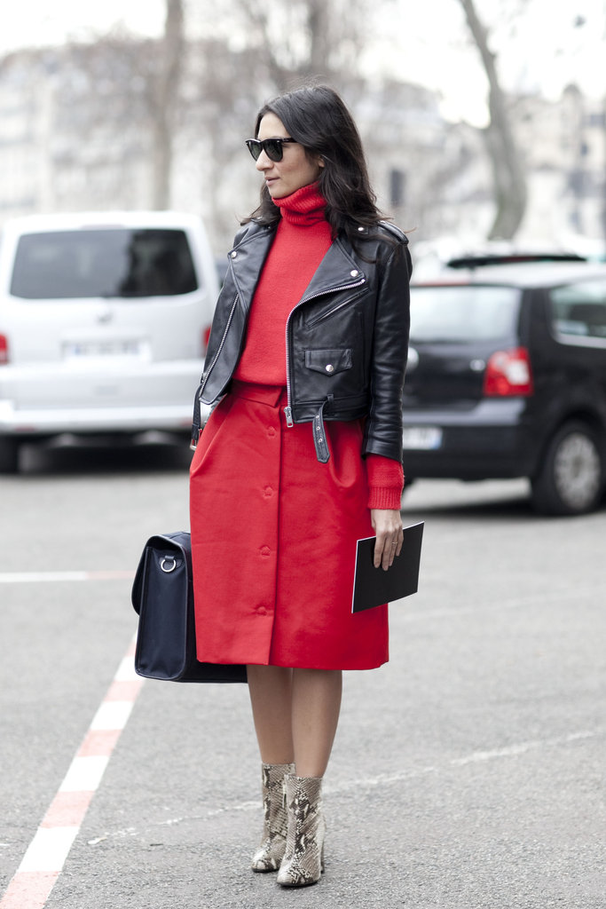 This lady in red nails the high-low styling vibe with an edgy leather jacket and polished separates.