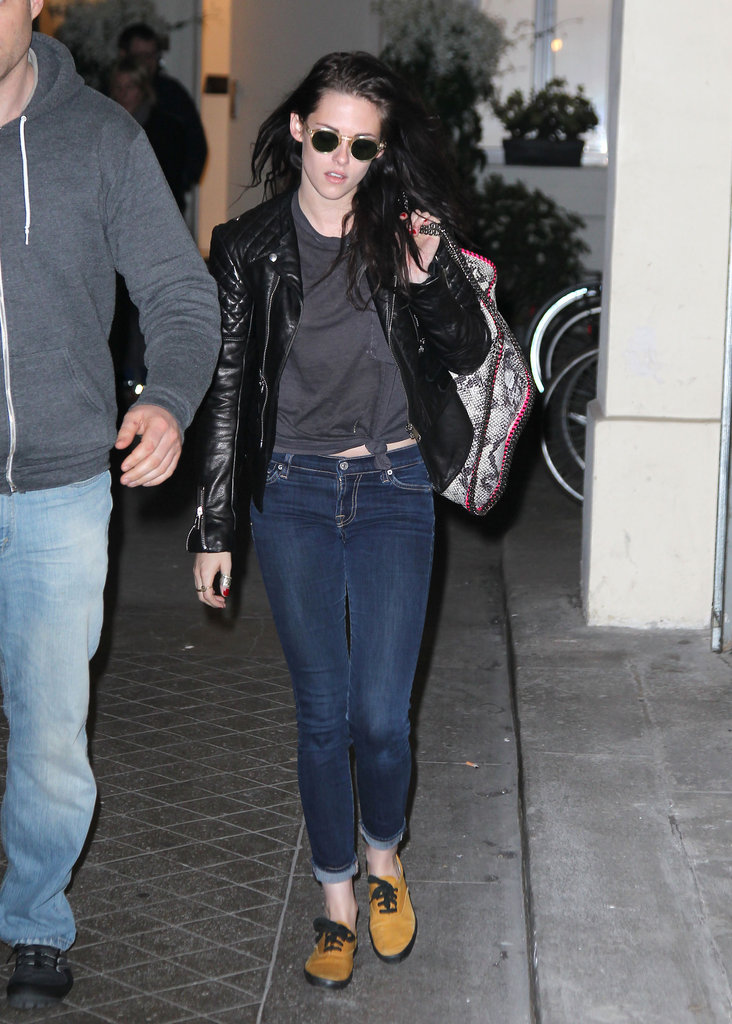 Kristen Stewart rocked a leather jacket.