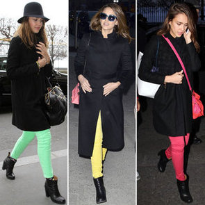 Jessica Alba Works Her Colour Wheel: How to Wear Coloured Jeans and Bold Brights Even In Winter!