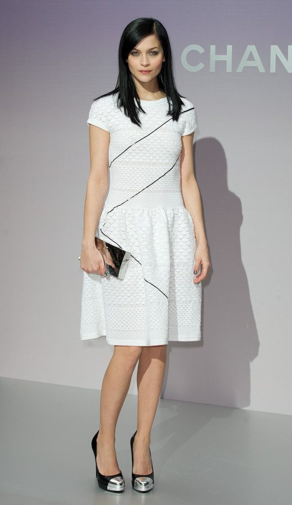 Leigh Lezark wore an edgier LWD at Chanel, complete with zippers sewn into the bodice.