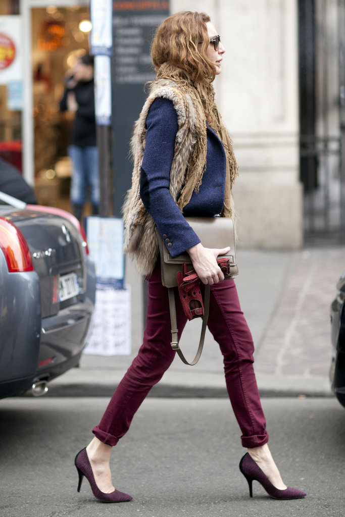 A neutral fur pairs perfectly with muted blue and red.