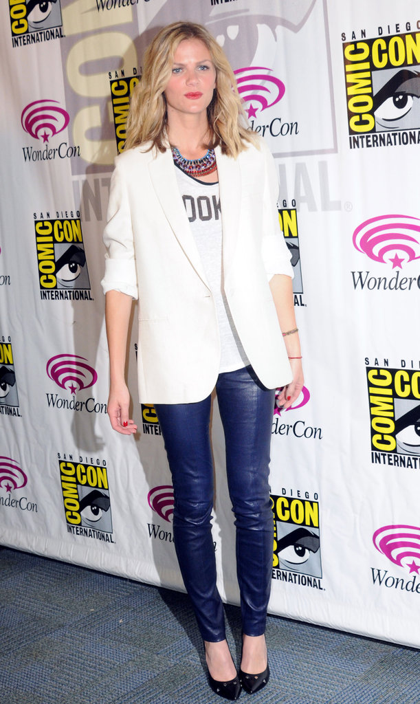 Brooklyn Decker in a white blazer at WonderCon.