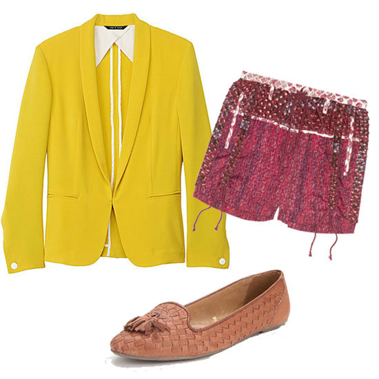 Inject a polished touch to these colorful printed shorts with a tailored blazer and tasseled oxfords.  Rag & Bone Tuxedo Blazer ($$495), Edun Printed Silk Shorts ($285), BDG Woven Tassel Loafer ($39)