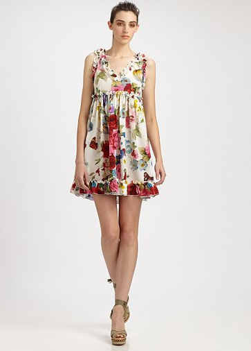 This Dolce & Gabbana dress is the epitome of Spring. We love the garden floral print and subtle ruffle detail.  Dolce & Gabbana Silk Babydoll Dress ($1, 445)