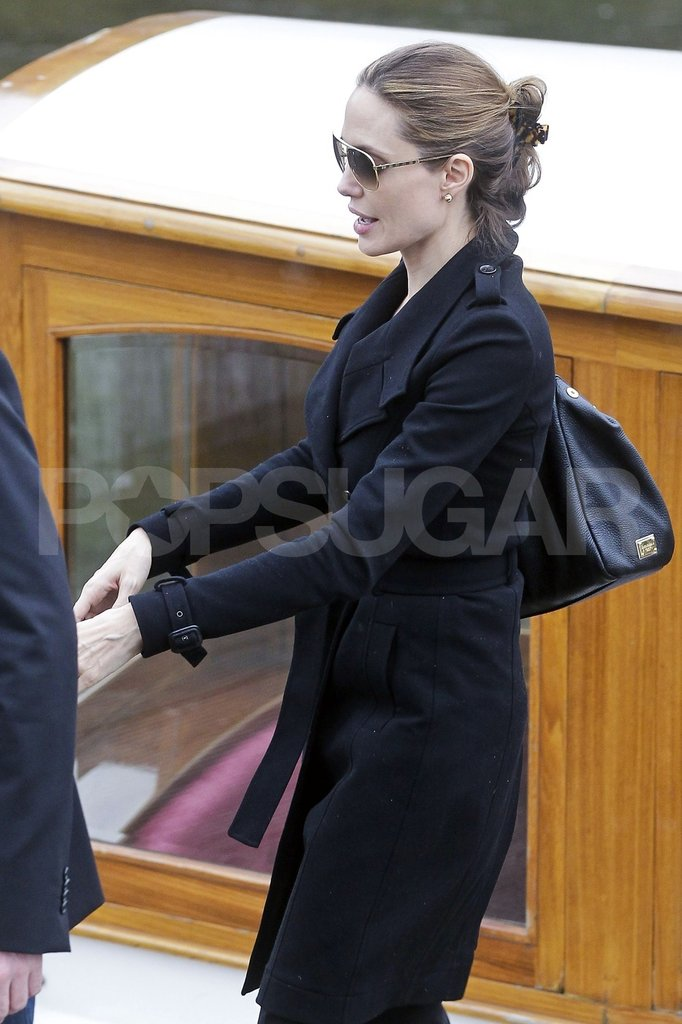 Angelina Jolie hopped off an Amsterdam canal boat.