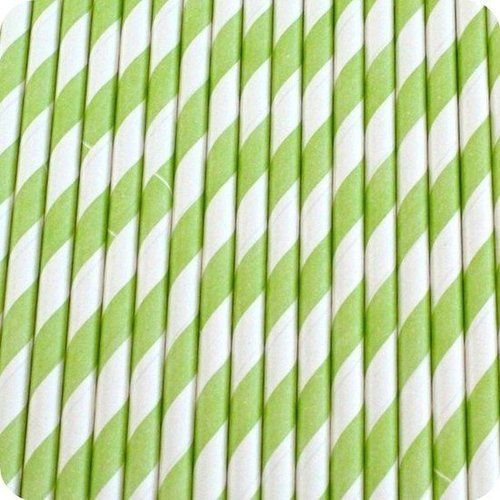 25 Green Striped Straws and DIY Flags