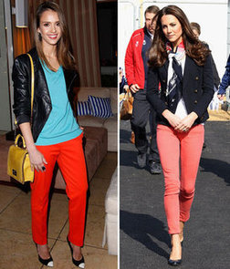 Kate Middleton and Jessica Alba Step Out in Red Pants. Bright and Bold or Classic and Casual; Who Wore It Best?
