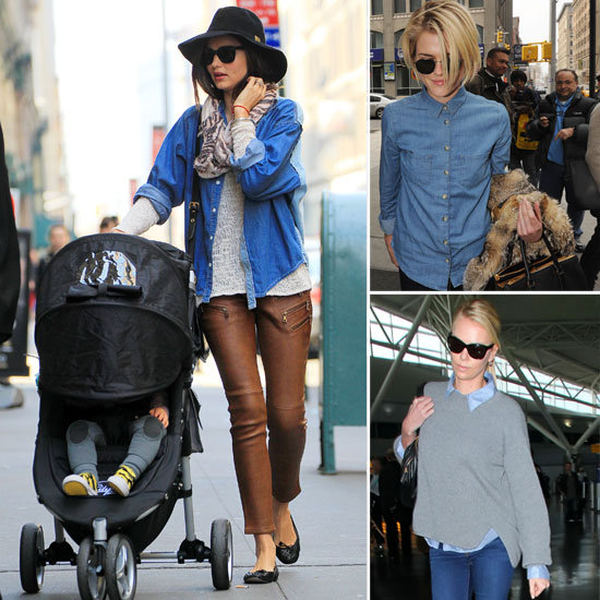 Miranda Kerr, Rachel Taylor and Charlize Theron Wear Denim Shirts on the Street: See How They Style Theirs, Then Shop Similar