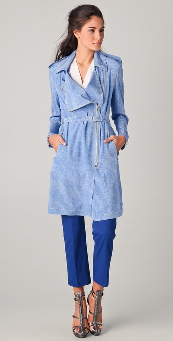 This baby-blue biker silhouette is calling our name — how perfect for Spring?!  3.1 Phillip Lim Biker Trench Coat ($850)