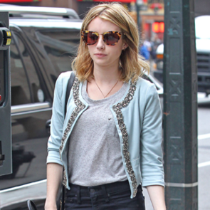Emma Roberts Wears Blue ASOS Jacket in NYC