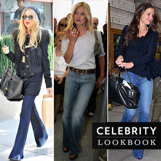 Celebrities Don Denim Flares: See How Victoria Beckham, Kate Moss & more Style Their Wide Leg Jeans
