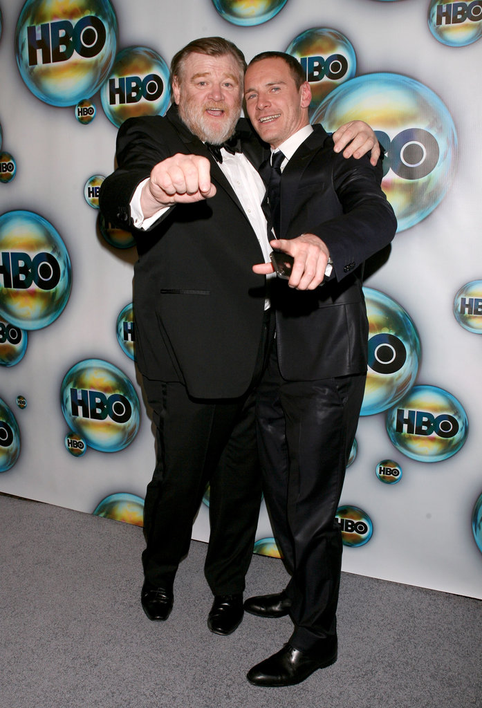 Michael Fassbender and The Guard actor Brendan Gleeson hit up HBO's Golden Globe Awards afterparty in January of 2012.