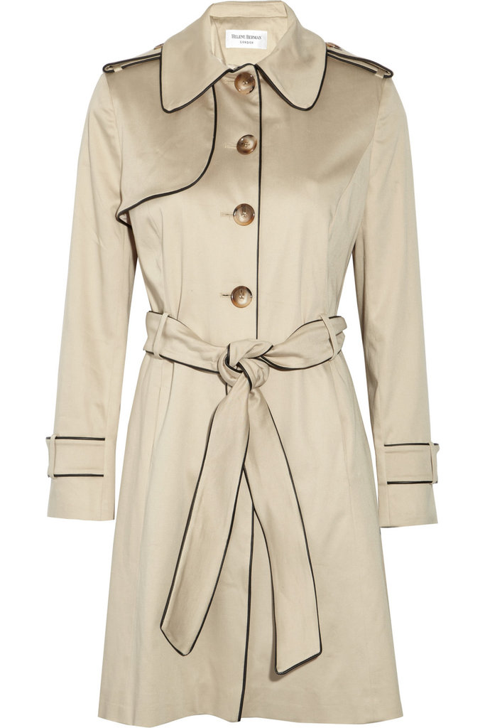 Slick Seasonal Topper Soon it'll be time to pack away those Winter-durable coats, but in their place, you'll need a coverup that's easy to pair with lighter layers and warm enough to keep you cozy on those cooler Spring evenings. Helene Berman Piped Stretch-Cotton Twill Trench Coat ($230)